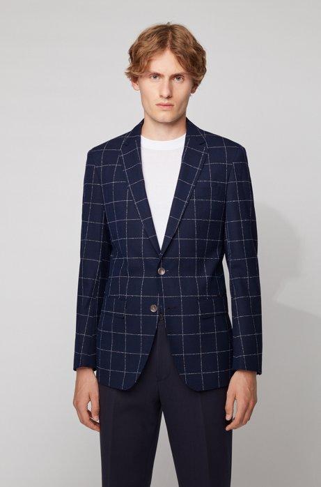Slim-fit jacket in a checkered virgin-wool blend, Light Blue