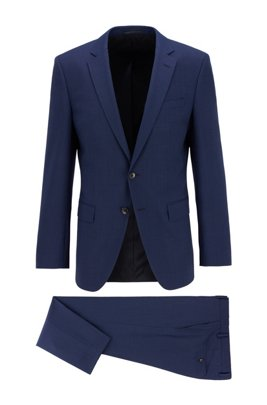Slim-fit suit in virgin wool with natural stretch, Light Blue