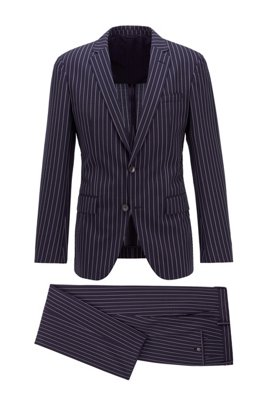 Slim-fit suit in a striped wool blend, Dark Blue