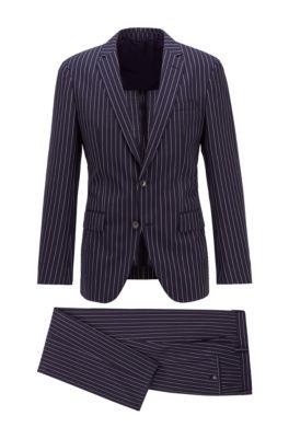 Slim-fit suit in a striped wool blend, Dark Blue