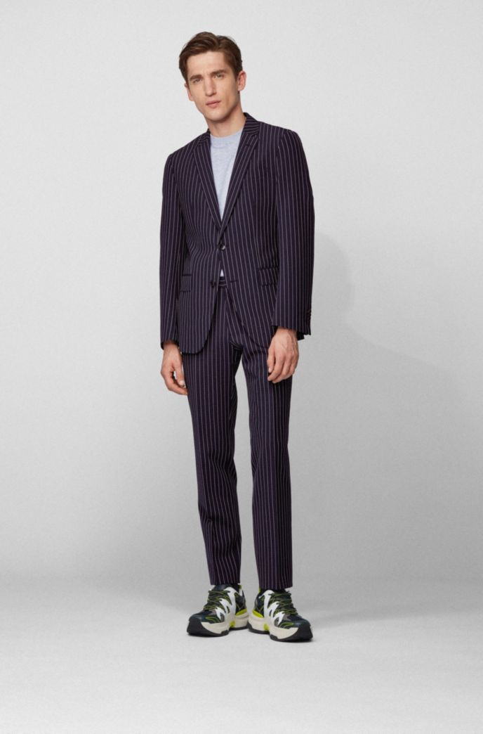 Slim-fit suit in a striped wool blend