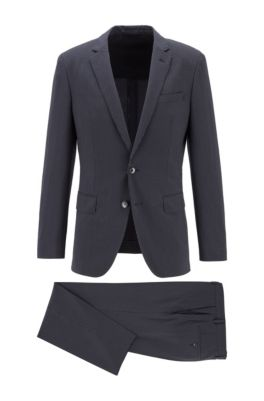 Slim-fit suit in wool-blend seersucker fabric, Dark Blue