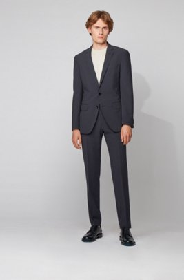Slim-fit suit in wool-blend seersucker fabric, Dark Blue
