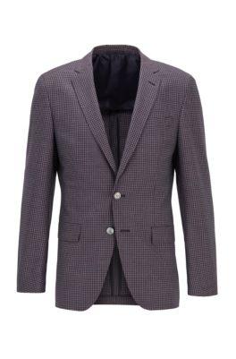 Slim-fit jacket in patterned virgin-wool serge, Dark pink