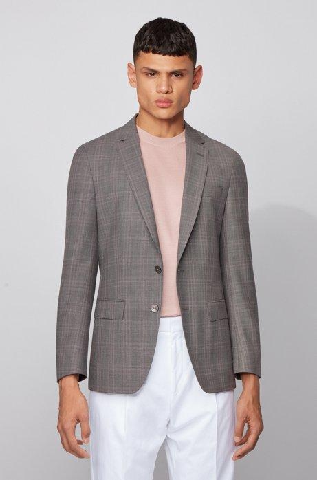 Slim-fit jacket in checked virgin-wool serge, Grey