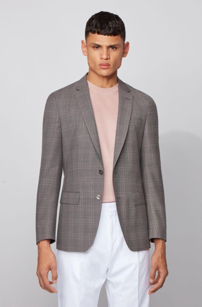 Slim-fit jacket in checked virgin-wool serge