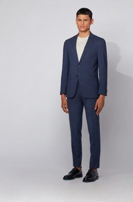 Slim-fit suit in checked virgin wool and linen, Dark Blue