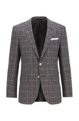 Melange slim-fit jacket in checked wool with linen, Black