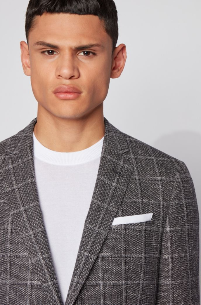 Melange slim-fit jacket in checked wool with linen