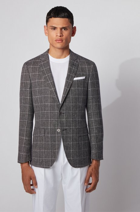 Melange slim-fit jacket in checked wool with linen, Black
