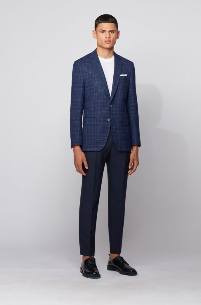 Slim-fit jacket in a plain check