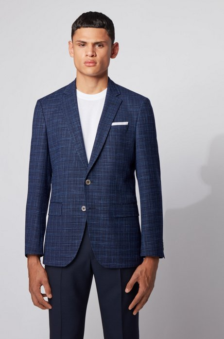 Slim-fit jacket in a plain check, Light Blue
