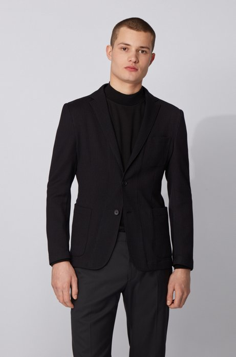 Slim-fit jacket in a structured wool blend, Black
