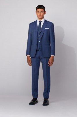 Slim-fit three-piece suit in patterned virgin wool, Light Blue