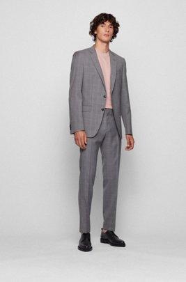 Slim-fit suit in checked virgin-wool serge, Grey