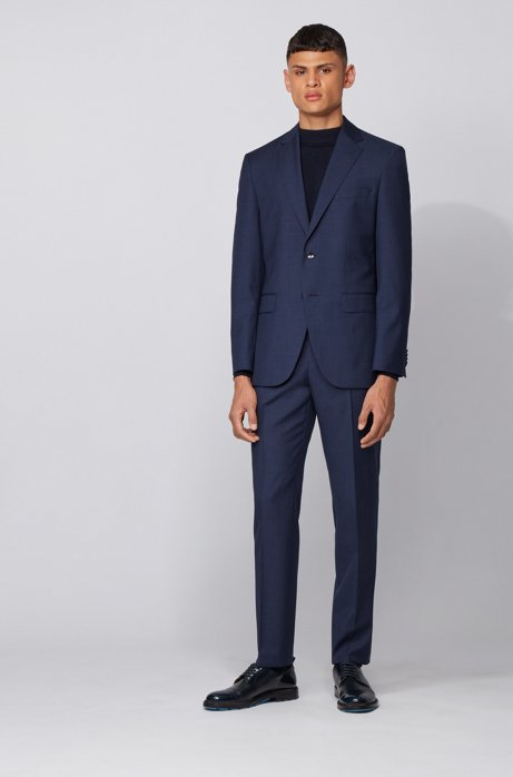 Regular-fit suit in micro-patterned virgin wool, Open Blue