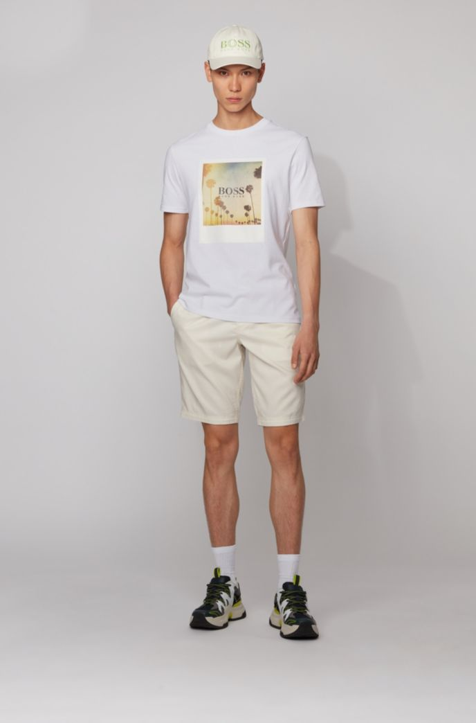 Fully recyclable T-shirt in cotton with summer-themed print