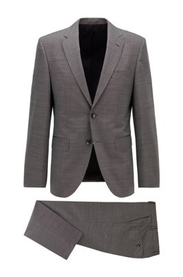 Regular-fit suit in stretch virgin wool with silk, Light Grey
