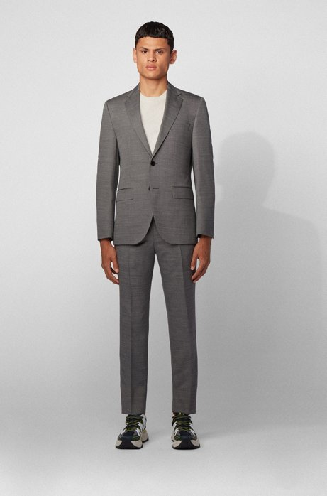 Regular-fit suit in stretch virgin wool with silk, Open Grey