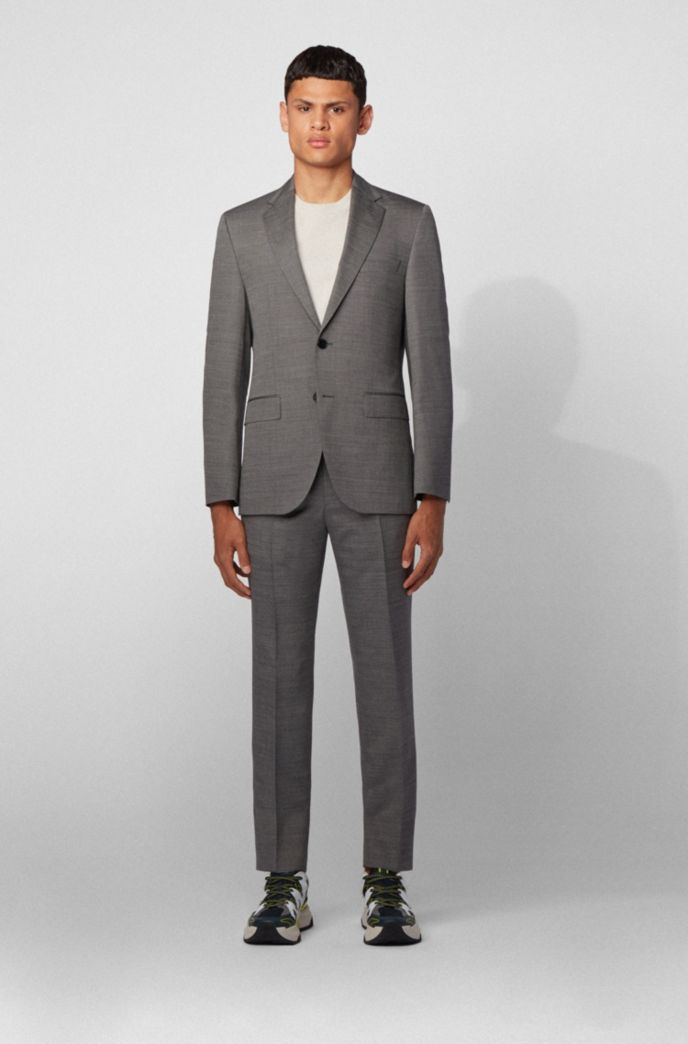 Regular-fit suit in stretch virgin wool with silk