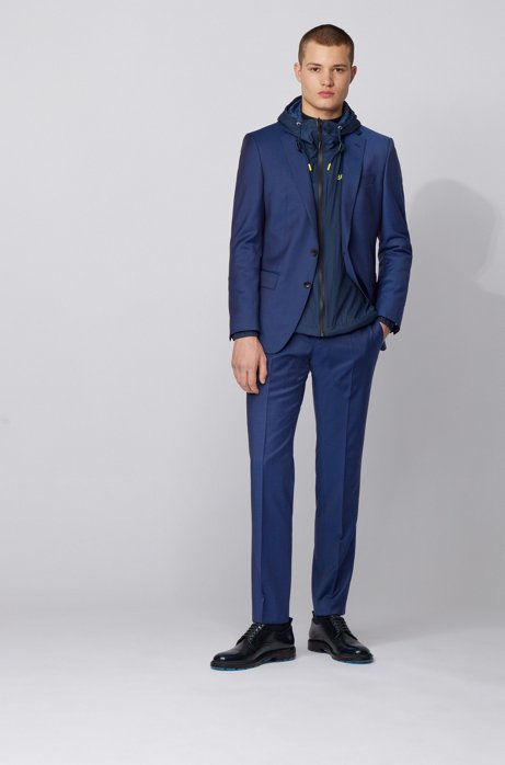 Slim-fit suit in virgin wool with natural stretch, Blue