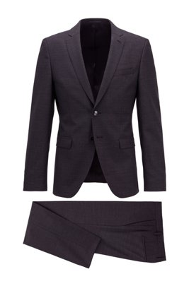 Extra-slim-fit virgin-wool suit with micro pattern, Black