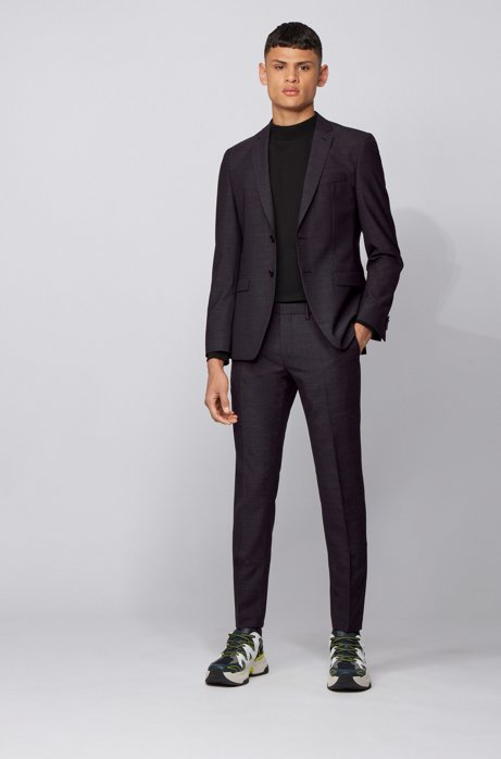 Extra-slim-fit virgin-wool suit with micro pattern, Black