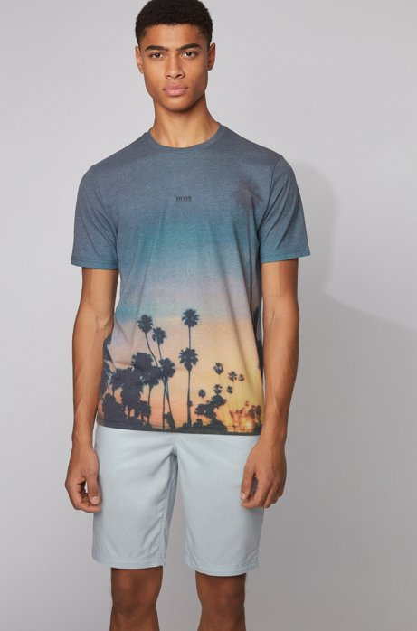 Lightweight T-shirt with all-over photographic print, Black