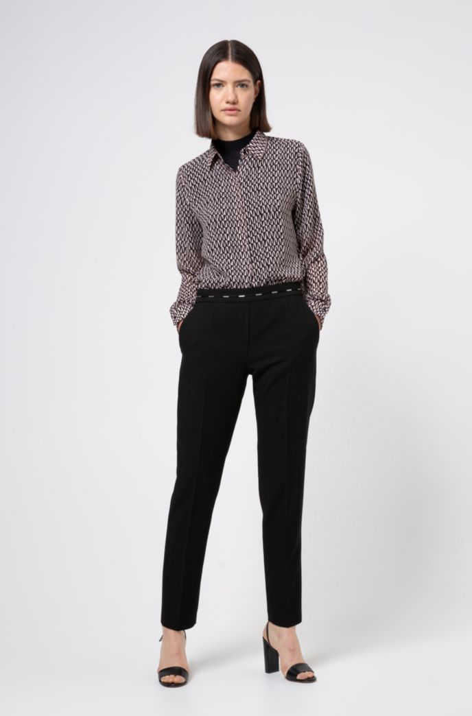 Chiffon blouse with two-tone geometric print