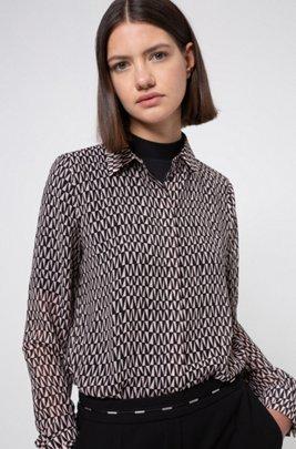 Chiffon blouse with two-tone geometric print, Patterned