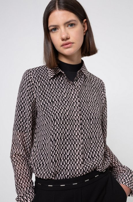 Chiffon blouse with two-tone geometric print, Patterned