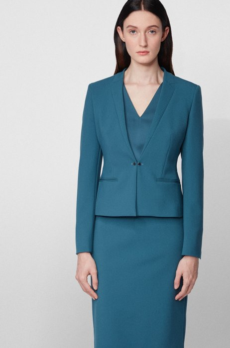 Regular-fit jacket with cufflink-style front closure, Dark Blue