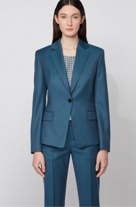 Regular-fit jacket in virgin wool with natural stretch, Patterned