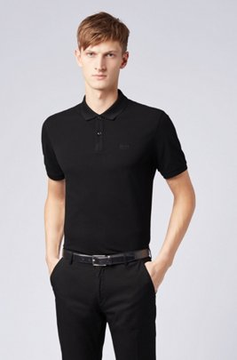 Regular-fit polo shirt in Pima-cotton piqué , Black