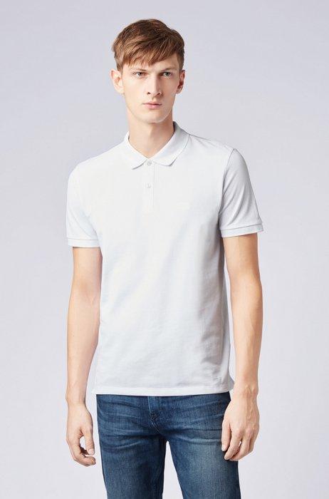 Polo Regular Fit en piqué de coton Pima, Blanc