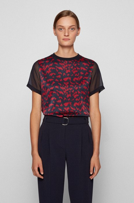 Graphic-print top with stretch-silk front panel, Patterned