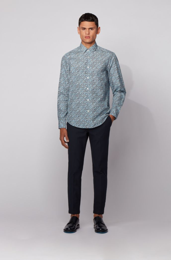 Regular-fit shirt in floral-print cotton poplin