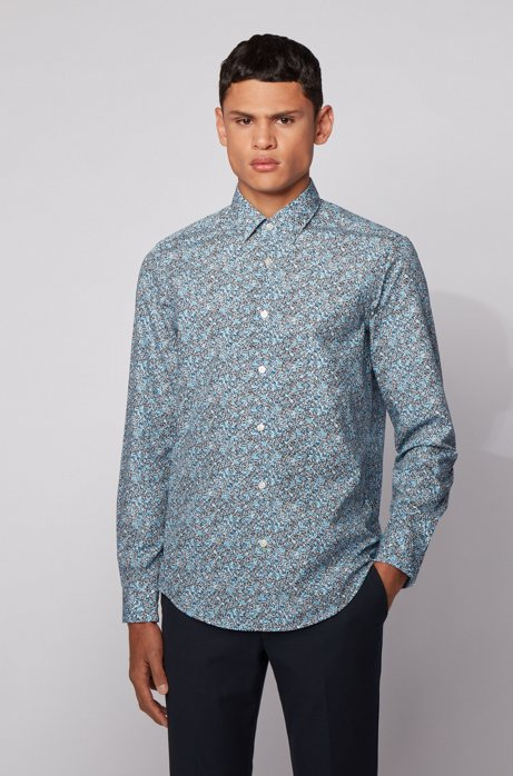 Regular-fit shirt in floral-print cotton poplin, Dark Blue