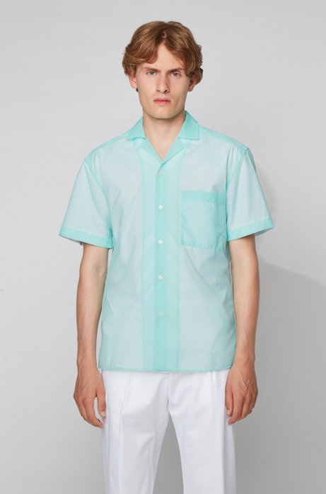 Relaxed-fit checked shirt with camp collar, Light Green