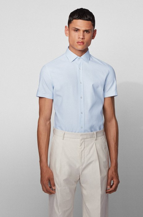 Short-sleeved slim-fit shirt in micro-structured cotton, Light Blue