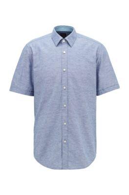 Regular-fit shirt in cotton and linen, Dark Blue