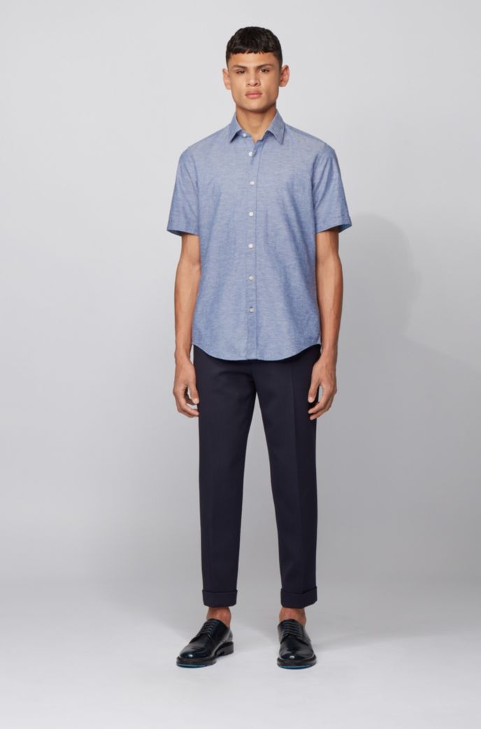 Regular-fit shirt in cotton and linen
