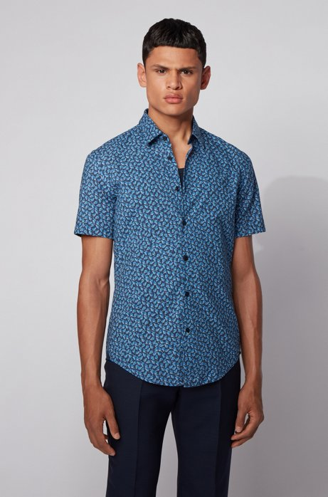 Slim-fit shirt in leaf-print cotton and linen, Dark Blue