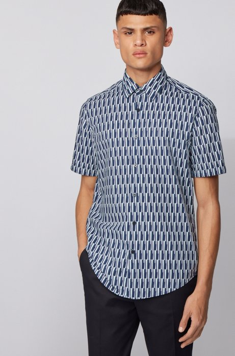 Regular-fit shirt in printed cotton and linen, Dark Blue