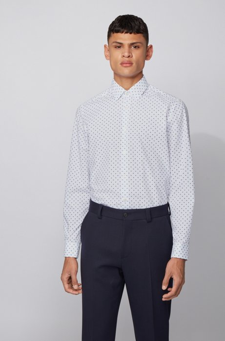 Regular-fit shirt in printed cotton voile, Dark Blue
