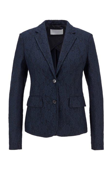 Regular-fit jacket in bonded lace, Light Blue