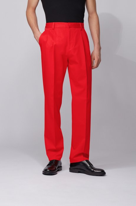 Relaxed-fit pleated pants in stretch cotton, Red