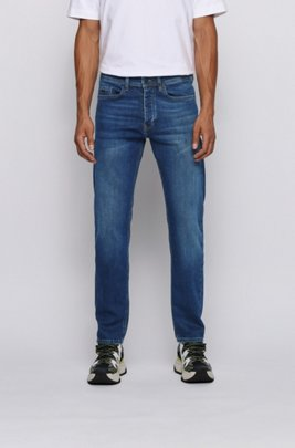 Tapered-fit jeans in indigo super-stretch denim, Dark Blue