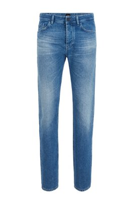 Tapered-fit jeans in circular denim, Turquoise