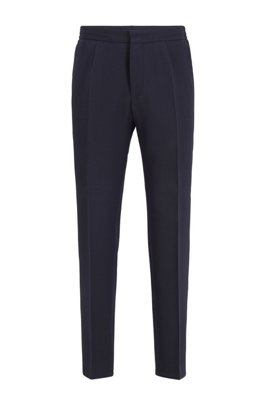 Slim-fit pants in seersucker fabric with stretch, Dark Blue